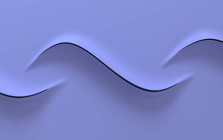 Abstract purple paper waves 3d rendering. Modern minimal design
