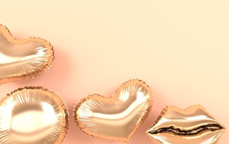Golden foil balloons isolated on beige background. 3d render element for birthday party, Valentine`s day, presentation. Heart, sphere  and lips shape 版權商用圖片
