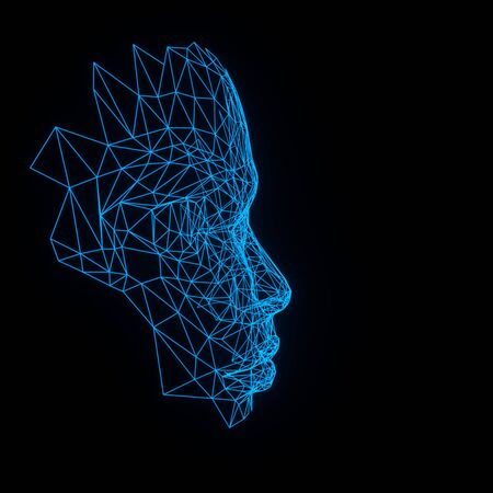 3d render human face with abstract web structure. Artificial intelligence concept. Young womans face Stock Photo