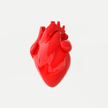 Realistic human heart organ with arteries and aorta 3d rendering. Happy Valentines Day greeting card. Romantic background. Red ceramic heart