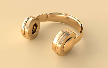 Headphones realistic 3d render. Music lover minimalistic background with golden wireless audio earphones