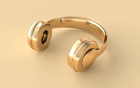 Headphones realistic 3d render. Music lover minimalistic background with golden wireless audio earphones