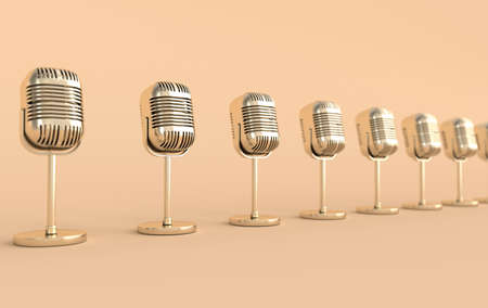 Retro concert or radio microphone realistic 3d render. Golden mike on beige background