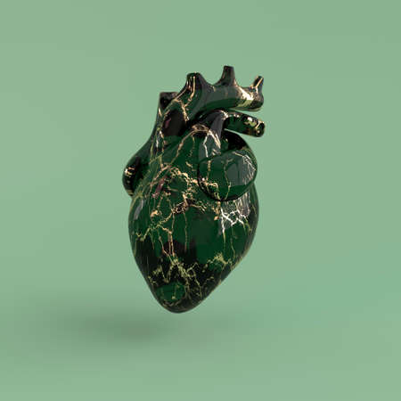 Realistic human heart organ with arteries and aorta 3d rendering. Happy Valentines Day greeting card. Romantic background. Green and golden marble glass heart 免版税图像