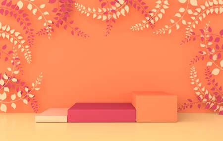 3d rendered studio with spring branches and leaves and podium. Platforms for product presentation, mock up background. Abstract composition in minimal design