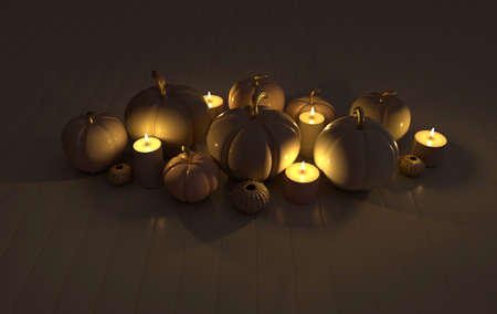 3d render pumpkin and candles pastel colored background. Minimal concept. Holiday decoration pumpkin for celebration halloween event template