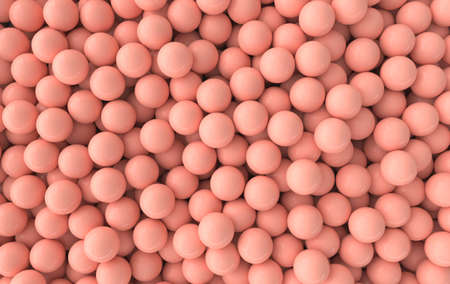Colorful balls abstract wallpaper and background. Pattern design for trendy poster, flyer, banner, card, cover, brochure. Plastic bubbles, gum, pastel pink spheres. 3d render