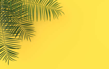 Tropical palm leaves background. Summer tropical leaf. Exotic hawaiian jungle, summertime party design for trendy poster, flyer, banner, card, cover, brochure. 3d render.