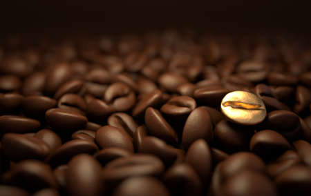 Roasted coffee beans 3d rendering background. Masses of coffee beans close up. Golden bean