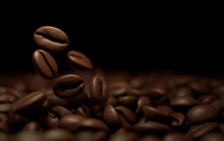 Roasted coffee beans 3d rendering background. Masses of falling coffee beans close up. Stock Photo
