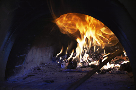 gas fireplace: wood oven