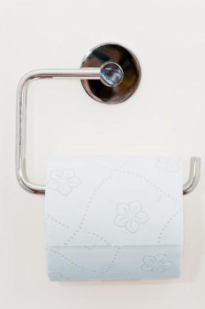 Toilet paper on the white wall Stock Photo - 4564311