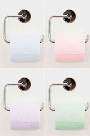Toilet paper on the white wall Stock Photo - 4621204