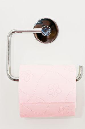 Toilet paper on the white wall Stock Photo - 4621183