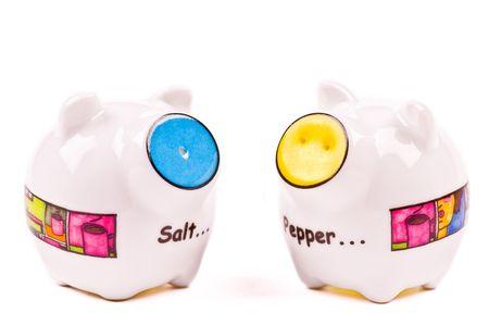 salinity: Salt & Pepper Shaker on the white background Stock Photo