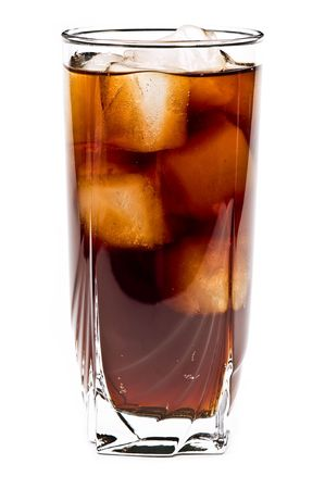 Glass of cola isolated on the white background photo