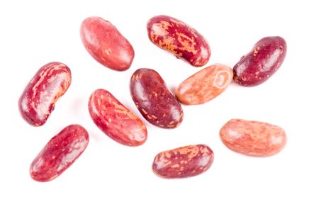 Red haricot beans on the white background Stock Photo - 4755654