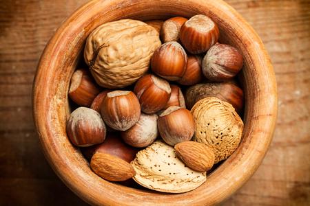 avellanas: Walnuts, almonds and hazelnuts Foto de archivo