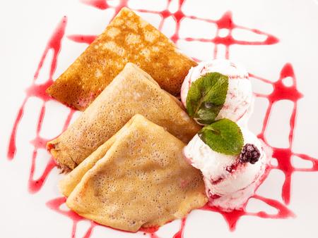 Pancakes with ice cream Stock Photo