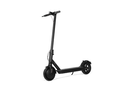 Electric black scooter in a isolated view Imagens