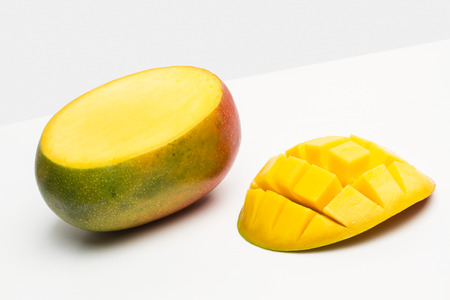 A cutted mango in a cut out view