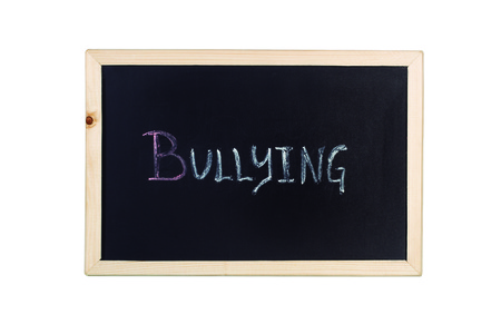A blackboard with bullying word in chalk Stock Photo