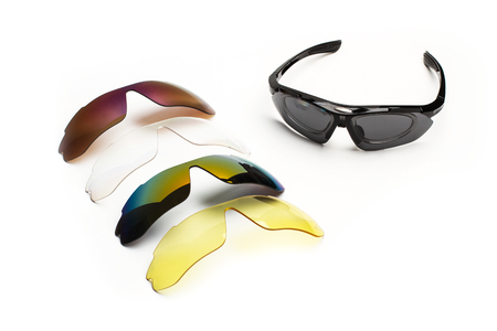 Sport sunglasses with diferent color lenses Imagens
