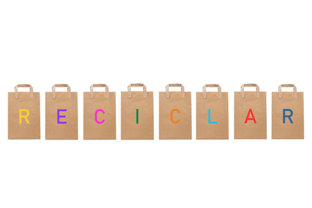 Recycle write in paper bags Stock Photo