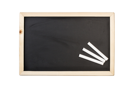 White chalks and a blackboard in an isolated view