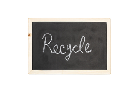 A blackboard with recycle in chalk
