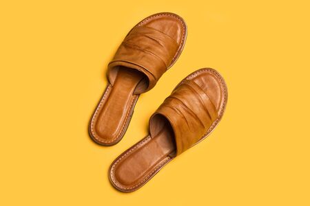 A pair of leather sandals on a yellow background