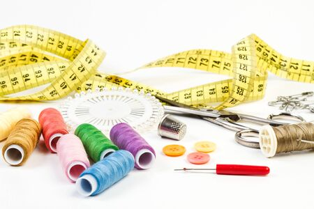 Sewing thread and sewing accessories in an isloted view