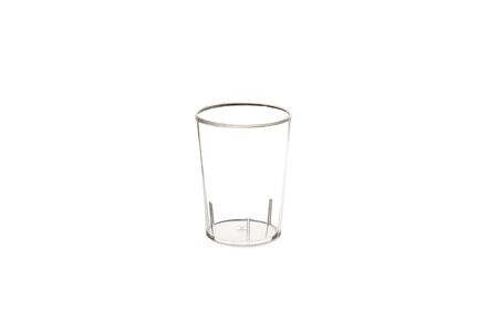 Transparent plastic glass on a white background