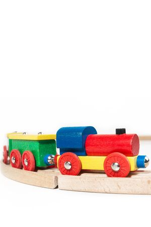 Wooden toy train in an isolated view