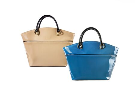 Two women leather hand bags Stock Photo