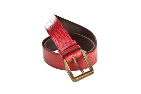A red lether belt on a white background
