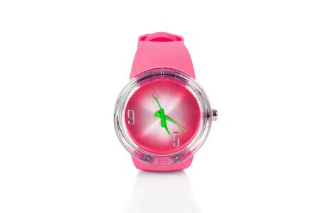 Casual pink watch on a white background