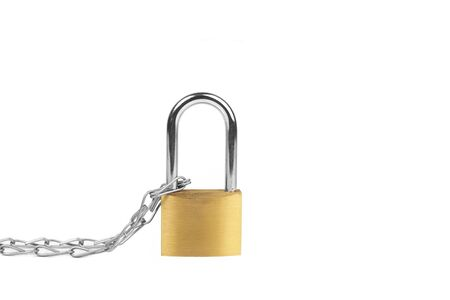 Padlock and chain in an isolated view Banco de Imagens
