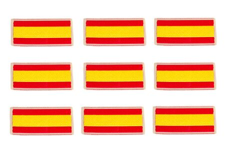 Small spanish flags on a white background