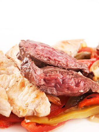 Meat and chicken with peppers