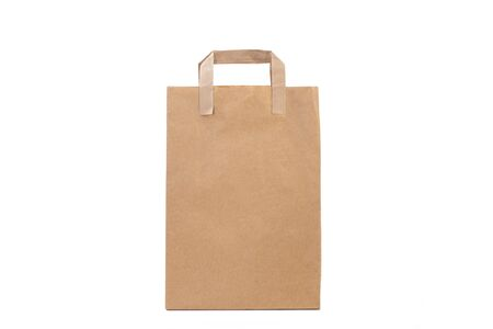 Brown paper gift bag on a white background