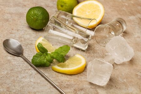 Limes and lemons with ice and glasses 写真素材