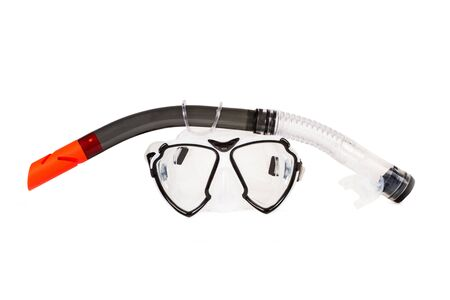 Snorkel and goggles on a white background