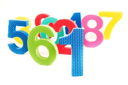 Colorfull numbers shaped toys on a white background Stok Fotoğraf