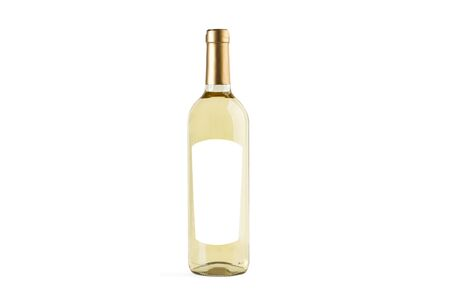 A bottle of white wine on a white background