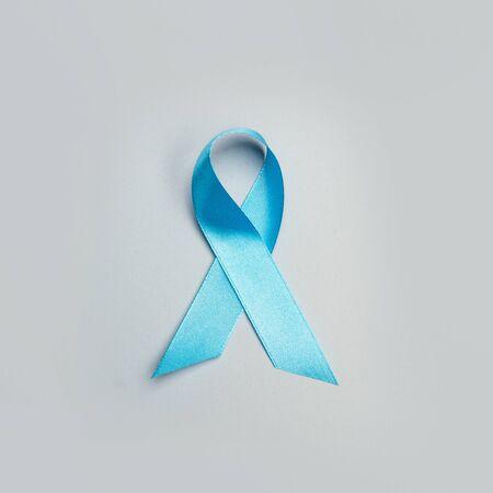 A blue ribbon on a gray background Stok Fotoğraf