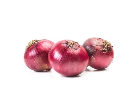 Purple onions on a white background