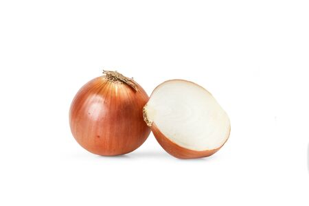 White onion with peel on a white background