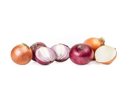 Purple and white onions on a white background