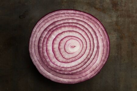 Slice of purple onion in a top view